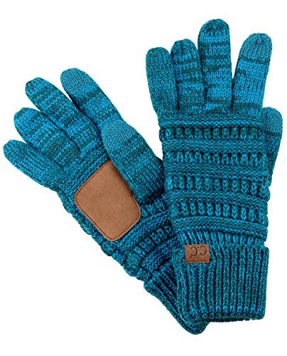 C C Unisex Cable Knit Winter Warm Anti Slip Touchscreen Texting Gloves  Blue Teal