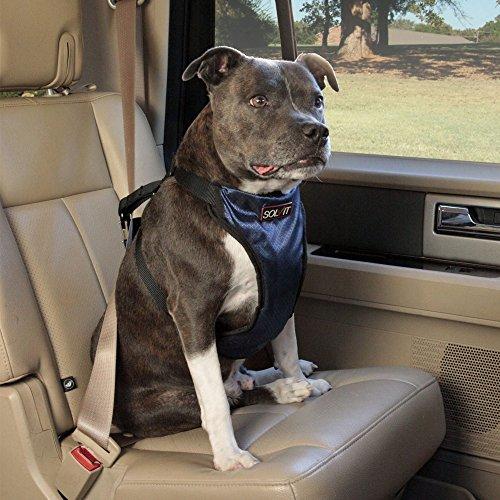 Solvit PetSafe Deluxe Car Safety Dog Harness, Adjustable Crash-Tested Dog Harness, Car Safety Seat Belt Tether Included