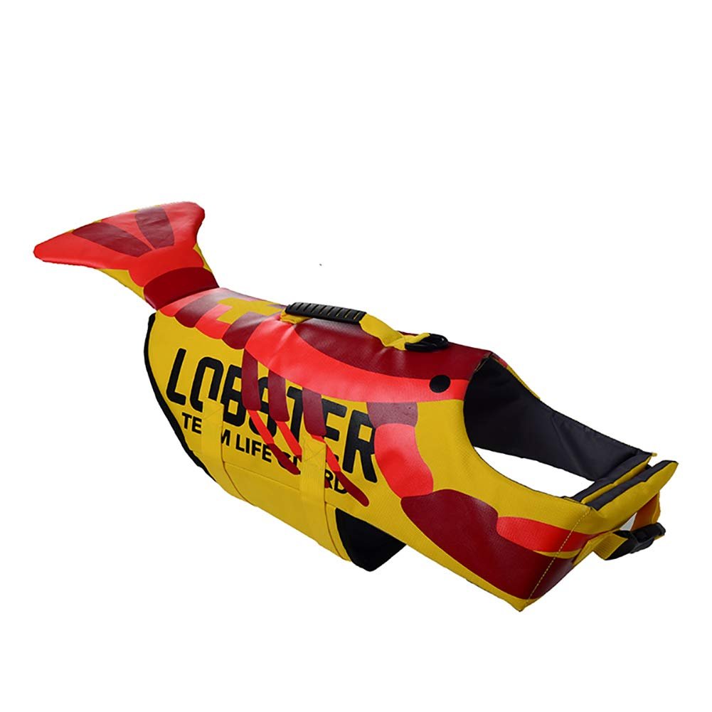Lobster Large lobster Large Dog Life Jacket,Dog Safety Life Coat Turtle Lobster Shark Three Style Design Adjustable Buckle Super Buoyancy Suitable for Dogs Swimming at The Beach,Lobster,L