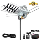 Electronics : Outdoor Amplified HDTV Antenna Digital TV Antenna 150 Miles Range 360 Degree Rotation 2 TV Support UHF/VHF Signal with 38FT Coax Cable and Wireless Remote controller by Ailuki