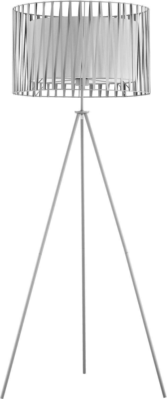 Stehlampe Dreibein Beleuchtung Grau Metall 145cm Modern rund stylisch MINA Lampe Modern Wohnzimmer Stehleuchte