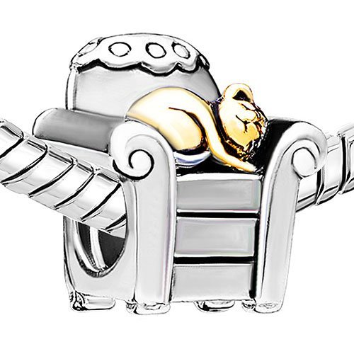 Everbling Kitty Cat Chair Two Tone Authentic 925 Sterling Silver Charm Bead Fits Pandora Chamilia Biagi Troll Charms Europen Style Bracelets