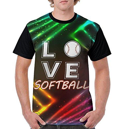 Men's Love Softball Funny Tees Black Size XXL
