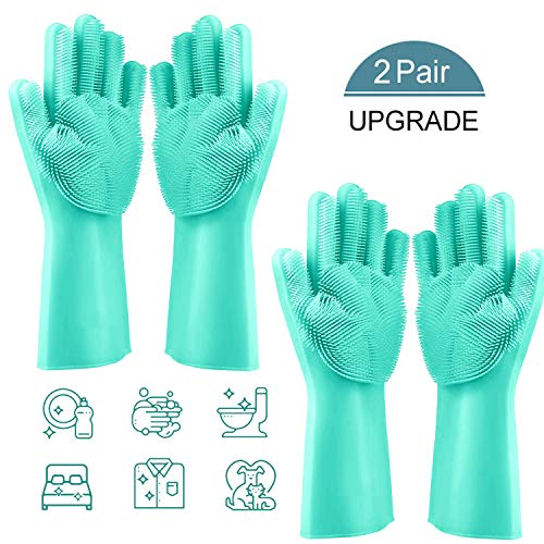 Auto Dishwashing - Silicone Dishwashing Cleaning Gloves with Wash Scrubber, Apsung 2 Pairs Reusable Silicone Brush Scrubber Gloves Heat Resistant for Dishwashing, Pet Hair Care, Kitchen Bathroom Cleaning,Car Washing