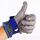 OmkuwlQ Anti-Cut Gloves Safety Cut Proof Stab Resistant Stainless Steel Wire Metal Mesh Butcher Cut-Resistant Gloves