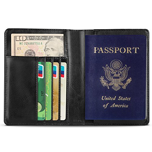 ORICONN Passport Cover, Elegant passport holder, Durable Business Wallet for Passport, Black