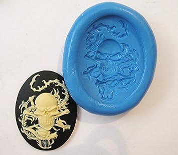 Ninja Dragon calavera Cameo con molde de silicona flexible de calidad alimentaria para arcilla polimérica, resina, cera, comida en miniatura, dulces, yeso: ...