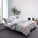 Whitney Home Textile Bamboo Derived Rayon & Microfiber Duvet Cover 3 Pieces Set - Hypoallergenic Breathable Comforter Case - Quilt Cover with Zipper Closure Corner Ties, Vertical Stripes King