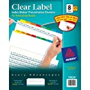 Avery Index Maker Clear Label Dividers, Easy Apply Label Strip, 8-Tab, Multi-Color, 25 Sets (11424)