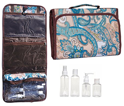 [Teal Turquoise Paisley New Large Hanging Travel Makeup Toiletries Cosmetic Bag Case Organizer with 4 Pack Travel Size Bottle Set Gift Idea Teen Girls Women Mom] (Last Minute Costume Ideas College)