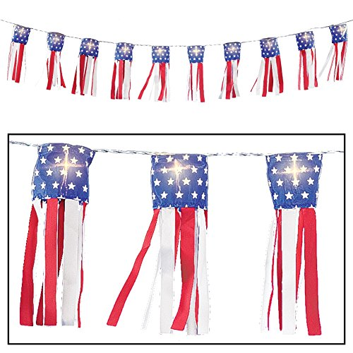 Lighted String Patriotic Windsocks Multi