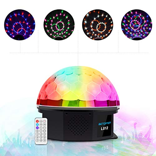 BETOPPER DJ Light Disco Magic Ball Party Lights with MP3 Player Remote Control RGBWOP 6 Colors LED Sound Activated Party Crystal Strobe Lights 6W DJ light for Home Parties Bar -