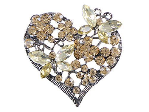 Alilang Womens Floral Silvery Tone Crystal Rhinestone Insect Butterfly Love Flower Heart Brooch Pin ()