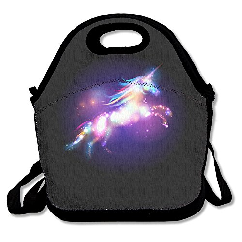 Unicorn Horse Funny Insulated Thermos Polyester Strap Women Men Kids Boys Black Lunch Bag Tote Purse For Outdoor Office