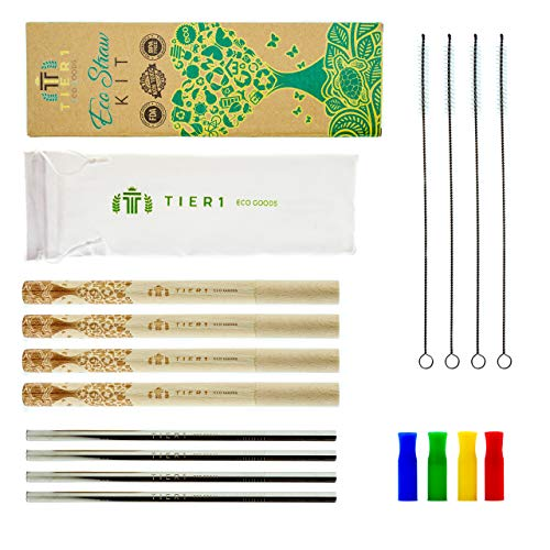 - Reusable Straws Eco Kit FDA Approved Stainless Steel Straws with 4 Custom Made Wooden Case sets, 4 Cleaning Brushes, 4 Silicone Tips - Portable Travel Zero Waste Straw Set - Travel Bag Included