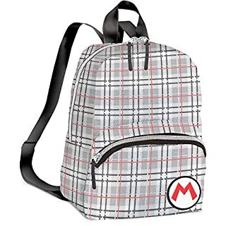 Controller Gear Super Mario - Mario Plaid - Small Backpack for Women, Girl's Cute Mini Bookbag Purse, Travel Bag for Nintendo Switch Console & Accessories - Nintendo Switch;