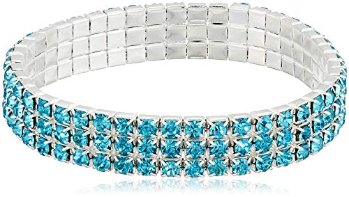 1928 Jewelry Silver-Tone Aqua 3-Row Stretch Bracelet 3 Row Stretch Rhinestone Bracelet