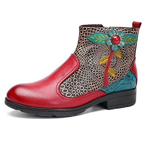Socofy Leather Ankle Bootie, Women's Vintage Handmade Flat Leather Boots Retro Splicing Ankle Boots High Top Oxford Shoes, Splicing Flower Pattern Red Splicing Flower Pattern 10 B(M) US (Retro Boots)