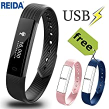 Fitness Tracker, Reida Smart Bracelet with 2 Extra Replacement Bands Wearable Wristband as Pedometer Sleep Monitor Call SMS SNS Alert and More Built-In USB Charging IP67 Waterproof Bluetooth 4.0 for Android & IOS