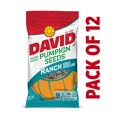 DAVID Roasted and Salted Ranch Pumpkin Seeds, 2.25 oz, 12 Pack