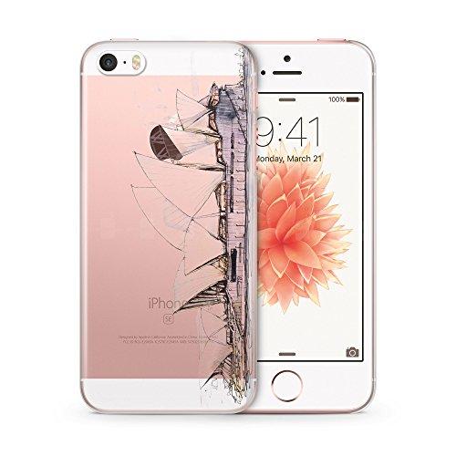 Sydney Opera House iPhone 5 | 5S | SE TRANSPARENT SLIM Hülle Hülle Cover Case Schutz Schale Australien Australia Wasserfarben