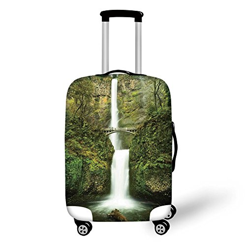 Travel Luggage Cover Suitcase Protector,Hobbits,Falls of Rivendell Multnomah Waterfall Oregon with Hobbit Elf Path Bridge Scene Image,Green,for (Rivendell 3 Light)