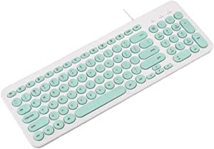 Wired Keyboard,Attoe Compact Wired USB Mini Keyboard Silent Ergonomic Cute Keyboard - Smooth Typing,Works with Mac and PC,Computer,Windows 10/8 / 7 / Vista/XP (Mint Green)