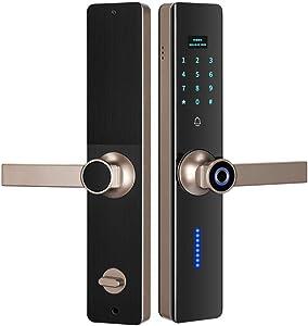 Smart Door Lock Fingerprint Smart Door Lock Semiconductor Fingerprint Lock Smart Password Lock Induction Home Door Lock Deadbolt (Color : Black, Size : One size) ( Color : Gold , Size : One Size )