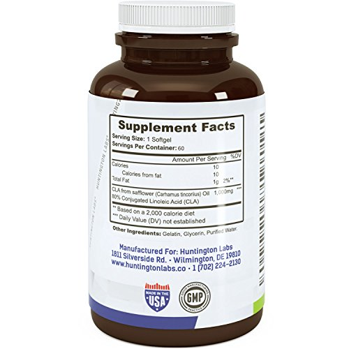 Highest Grade & Potency CLA Supplement Through Safflower Oil Natural Softgels & Extra Purity for Strength & Bio availability Guaranteed By Huntington Labs