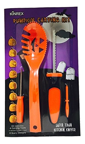 KINREX Halloween Pumpkin Carving Kit - 4 Halloween Carving Tools - 8 Halloween Stencils (Halloween Cutouts For Pumpkin Carving)