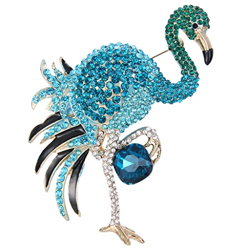 - EVER FAITH Women's Austrian Crystal Graceful Enamel Flamingo Bird Brooch Aquamarine-Color Gold-Tone