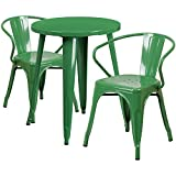 Flash Furniture 24'' Round Green Metal Indoor-Outdoor Table Set with 2 Arm Chairs