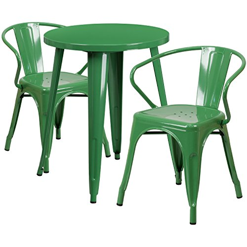 Flash Furniture 24 Round Green Metal Indoor-Outdoor Table Set with 2 Arm Chairs