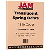 JAM Paper Translucent Vellum Cardstock - 8 1/2'' x 11'' - 43lb Spring Ochre - 250 Sheets/Pack