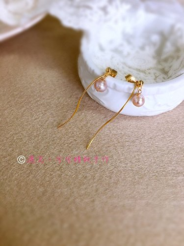 usongs Devastated special hand-made Fukada same paragraph fringed bag-shaped purple freshwater pearl earrings gold earrings