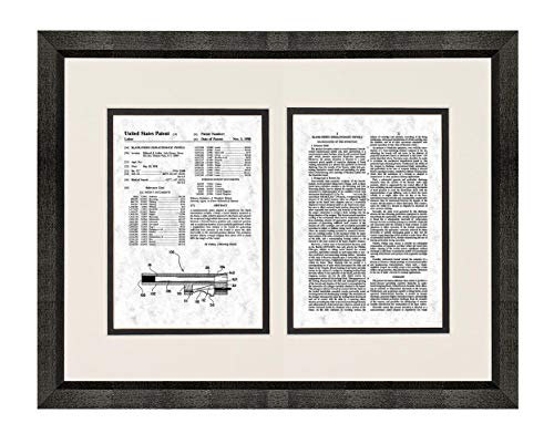 Blank-Firing Semiautomatic Pistols Patent Art Gunmetal Print in a Beveled Black Wood Frame with a Double Mat (16