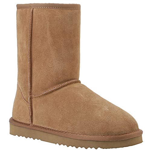 Veilante Waterproof Winter Snow Boots-Pull Up Camel Color Mid Length Chestnut Genuine Leather Anti-Slippy EVA Sole Slip On Winter Warm Women Shoes with Fur Bronze US Size 5 Small