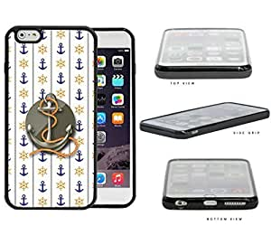 Blue Anchor & Orange Wheel Wallpaper with Grey Centered Anchor & Rope iPhone 6 PLUS (5.5) INCH SCREEN Rubber Silicone TPU Cell Phone Case