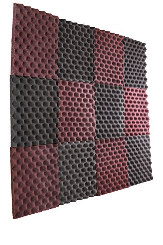 New Level 12 Pack- Burgundy/Charcoal Acoustic Panels Studio Foam Egg Crate 1