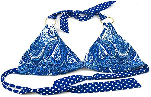 Jessica Simpson Paisley Collection Ladies Large Tie Back Bikini Top Blue/White