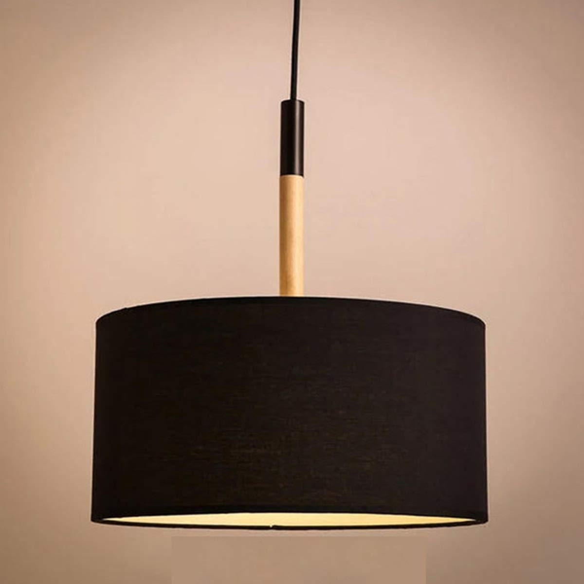 NANGE Modern Pendant Light,Nordic Simple Single Head Chandelier,Living Room Dining Room Study Bedroom,E27(Without Light Source) (Color : Black, Size : AC 220V-Warm White)