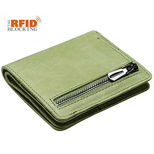 JSLOVE Rfid Blocking Small Compact Bi-fold Leather Pocket Wallet for Women(light green) - Green Flat Wallet