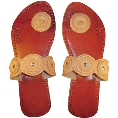 Paduka Sandals, Unique Toe Post Leather Sandals (8, Natural Classic)