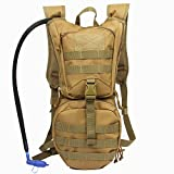 Hydration Pack Tactical Backpack with 3L Water Bladder Reservoir for Hiking Cycling Hunting Running (Tan) For Sale