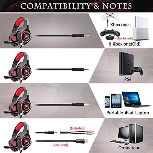 Beexcellent GM-1RED Gaming Kopfhörer für PS4 PC Xbox One, LED Light, rot 5
