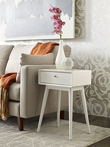 Elle Decor Rory One Drawer Side Table, White - Love the mid-century modern look? the rory side table is a must-have This Classic design will turn you into an instant mid-century maven Handy drawer keeps your living room or Bedside clutter-free so you can stay Zen - living-room-furniture, living-room, end-tables - 51tdbggp3cL -