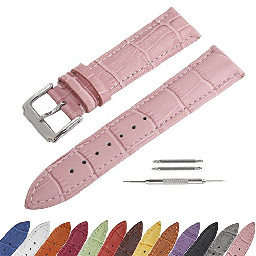 SIMCOLOR Leather Watch Band - Choice of Color & Width (16mm,18mm,20mm,22mm or24mm) Premium Genuine Cowhide Replacement Watch Strap for Men and Women(16mm,Pink)