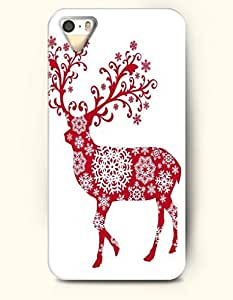 OOFIT Authentic Cases for iPhone 5/5S - Hard Back Plastic Case /Merry Christmas Xmas/ Red White Christmas Reindeer and Snow Flakes by lolosakes by lolosakes