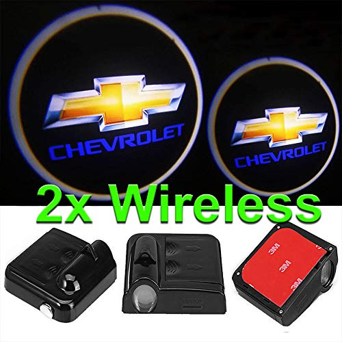 CNAutoLicht 2x Wireless Magnetic Cree LED Door Step Courtesy Light Welcome Light Laser Shadow Logo Projector Lamp For Chevrolet Chevy Astra Astro Avalanche Aveo Beat Beretta Biscayne Blazer