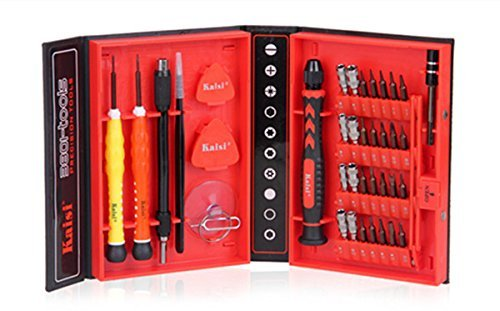 Kaisi 2015 Updated Version 38-piece Precision Screwdriver Set Repair Tool Kit for iPad, iPhone, & Other Devices (38in1 red)